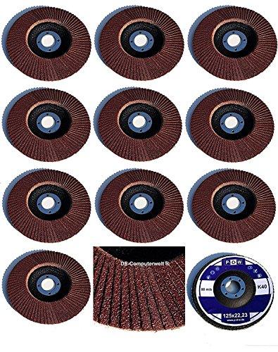 20 Stück Fächerscheiben – Ø 125 mm x 22,23 mm – MIX-Paket - Gemischte Körnung je 5 x Korn 40/60 / 80/120 – braun/Standard Fächerscheiben/Schleifmopteller/Fächerschleifscheibe