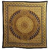 Tagesdecke Paisley braun-schwarz-beige Überwurf indische Decke