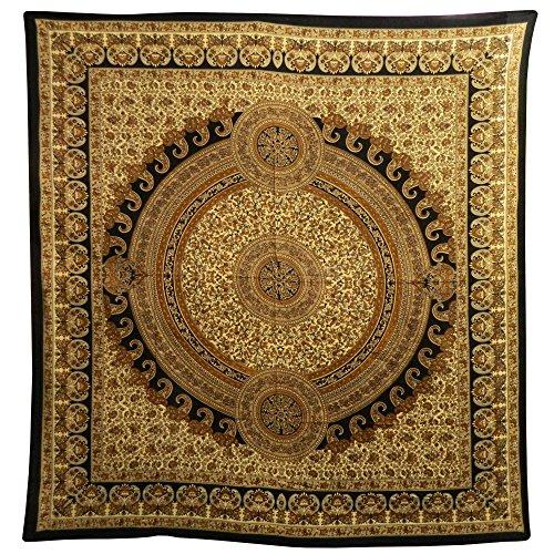 indischerbasar.de Couverture indienne Tenture PAISLEY Marron Noir Beige 230x210cm Coton Couvre-lit Jeté de canapé/ de fauteuil