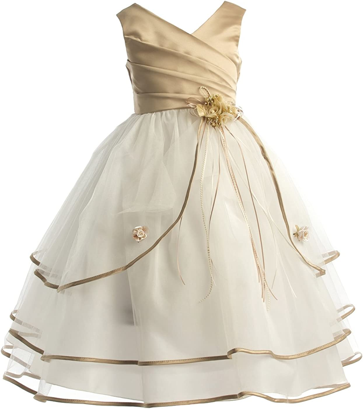 Joy Kids Girls Pleated Satin Special Occasion Flower Girl Dress Sizes 2 To 16