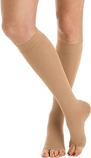 M1050A calcetines punta abierta hasta la rodilla de algodón médico de clase 1 - K1 compresión graduada