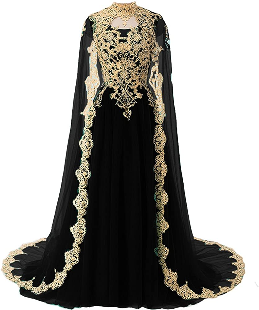 Kivary Gold Lace Long Prom Evening Dresses Wedding Gowns With Cape