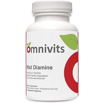 Omnivits Hist Diamine | Histamine Blocker | Diamine Oxidase Enzyme Formula | 20,000 HDU of DAO | Histamine Intolerance | 60 Vegetarian Capsules