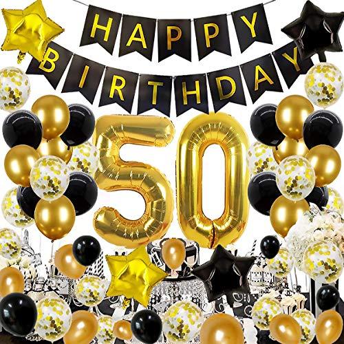 Decorazione Festa 50 ° Compleanno in Oro Nero, Kit Accessori per la Festa di 50 Compleanno, Palloncino in Foil Decorazioni Palloncini in Lattice Oro Nero, Set di Decorazione da Celebrazione 50 Anni