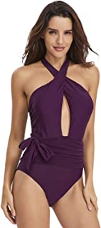 LYL 調整可能な文字列の装飾と高真空の女性のための水着ハイスクールウエストワンピースセクシービキニ (色 : Purple, サイズ : L)