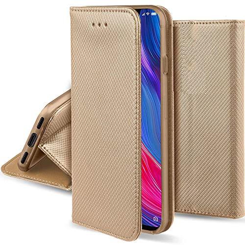 compatibel met LG K8 (2018)/ LG K9 scherm 5.0 beschermende cover stand kantelen boek gel TPU zacht eco-leer portefeuille (goud)