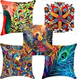 Swasiya Satin Digital Printed Sofa Cushion Cover Pack of 5 (40x40 cm or 16x16 Inch)- Multi Color, TC-175, More, A-9