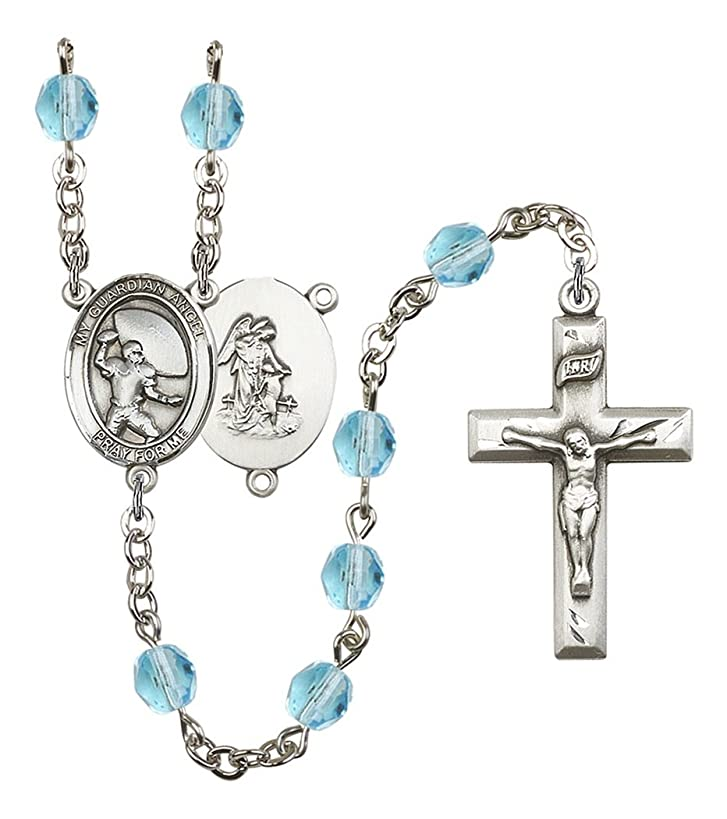 March Birth Month Prayer Bead Rosary with Patron Saint Centerpiece, 19 Inch