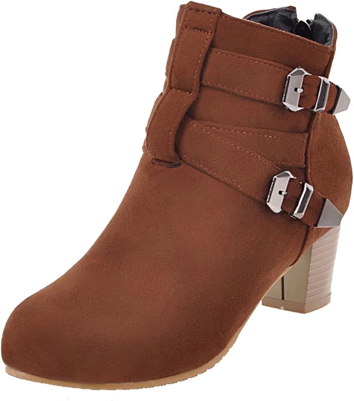 AIYOUMEI Women's Round Toe Block Heel Booties Zipper Autumn Winter Boots with Buckles