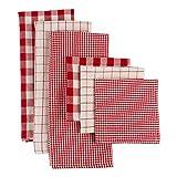 DII CAMZ10660 Woven Heavyweight Kitchen Set, Dishtowel & Dishcloth S/6, Holiday Checks, 6 Piece