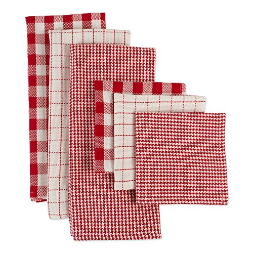 DII CAMZ10660 Woven Heavyweight Kitchen Set, Dishtowel & Dishcloth S/6, Holiday Checks, 6 Piece