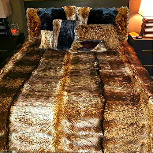Fur Accents Exotic Pieced Fur - Dark Reddish Brown Fox - Wolf - Faux Fur Throw Blanket - Bedspread - Extreme Luxury - Cuddle Fur Lining Hand Made - USA (King Size)