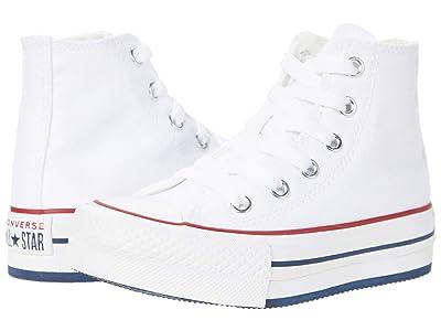 Converse Kids Chuck Taylor(r) All Star(r) Eva Lift Hi (Little Kid/Big Kid) (White/Garnet/Midnight Navy) Kid