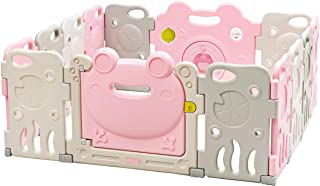 Costzon Baby Playpen, Kids 14 Panel Safety Play Yard Activity Center w/Walk-Through Locking Door, Non-Slip Rubber Mats, Adjustable Shape, Portable Design for Indoor Outdoor Use (Frog Patten)