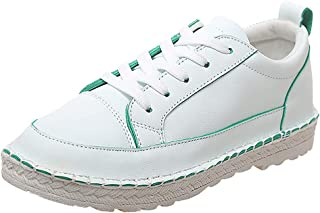 〓COOlCCI〓Women Classic Slip-On Comfort Fashion Sneaker,Low Cut Lace up Fashion Walking Shoes Athletic Loafers Flat Shoes