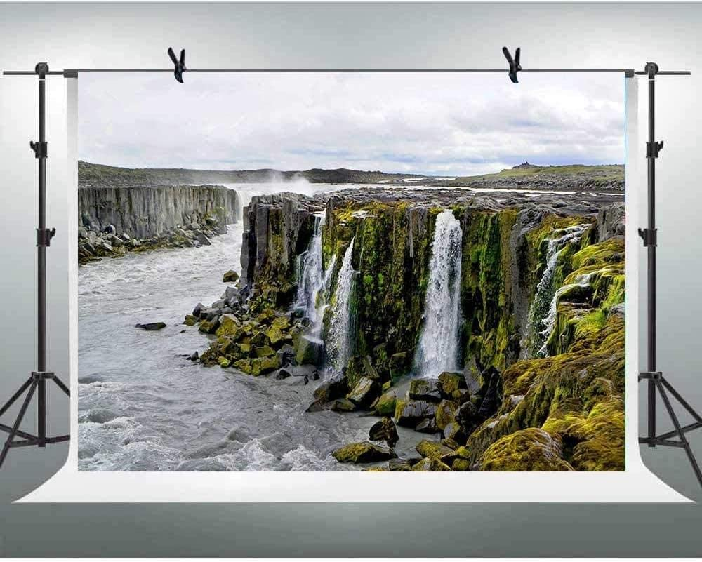 Zhy Beautiful Nature Waterfall Backdrop 7X5FT Cascade Landscape Scene Background for Photography Polyester Photo Booth Backdrop Studio Props TVV055