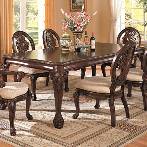 Big Sale Formal Dining set with leaf design in cherry finish,Table+6Chairs+Buf/Hut