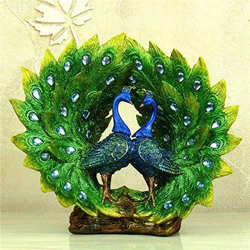 HZY Escultura de escritorio, creativo extensible plumaje Peafowl estatua Pareja hechas a mano de resina del pavo real amantes de la escultura del animal doméstico Craft accesorios de la decoración reg