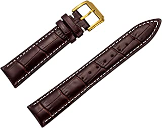 Genuine Leather Watch Band Fashion Style Leather Watch Strap Dark Brown 16MM
