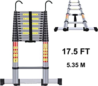 Handvoll Telescoping Ladder 17.5ft Aluminum Extension Folding Ladder, Portable Heavy Duty Multi-Purpose Telescopic Ladder with Slip-Proof Feet