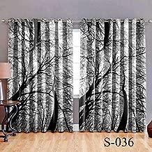 HOMECRUST Digital Print Curtains Elegant Door Curtains Black Tree 4 x 7 feet- 2pcs.
