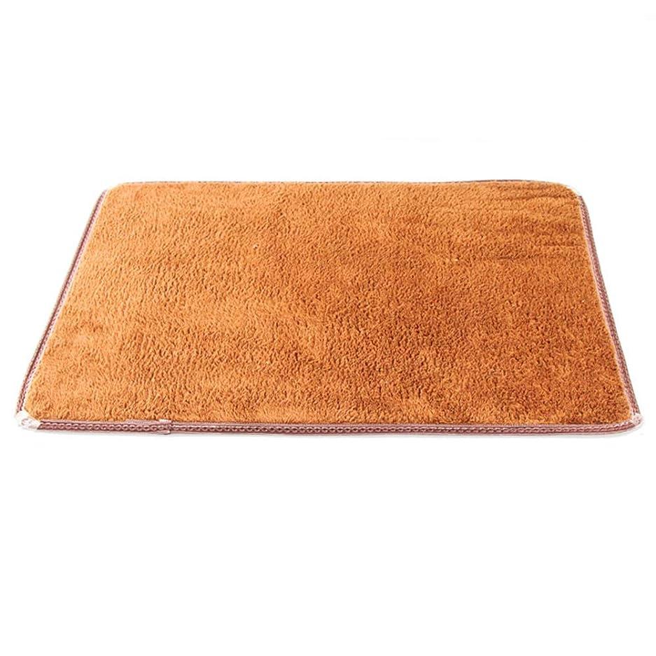 世紀核ぼかし吸水 滑り止め ソフト コーラルフリース バスマット,快適な 簡単なケア の シャワー ルーム キッチン ドアのマット-ブラウン 59.5x40cm(23x16inch)