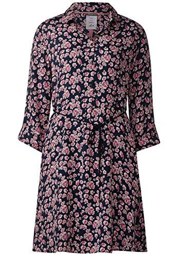 Street One Damen Kleid mit Blumen Muster Farbe: Dunkelblau/Pink/Rosa/Weiss Gr. 40 Kleid mit Langen Arm.