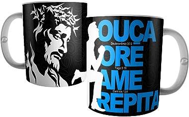 Caneca Cristão Evangélico e Católico, Ouça, Ore, Ame e Repita