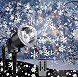 Outdoor Projector LED Lights Snowflake Decoration Christmas Lights White Snow Falling Projection Light with Remote Control for Xmas/House/Garden