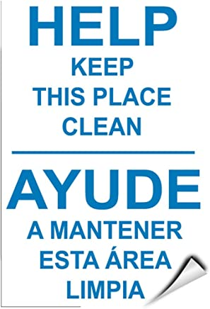 Help Keep This Place Clean Ayude A Mantener Esta ?rea Limpia LABEL DECAL STICKER 5