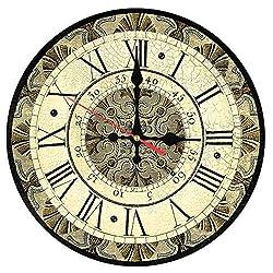 CSJ-CSJ Wall Decoration Wall Clock, Wall Clock Wooden Clocks Home Decor Quartz Watch Single Face Still Life Roman Number Stickers Modern Living Room Wall Clock Wall Clock