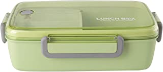 Lunch Box Bento Box for Kids, Leakproof & Reusable Food Storage Containers for men women, FDA Approved & BPA Free, 3 Compartments, Back to School (1 Pc, Green)