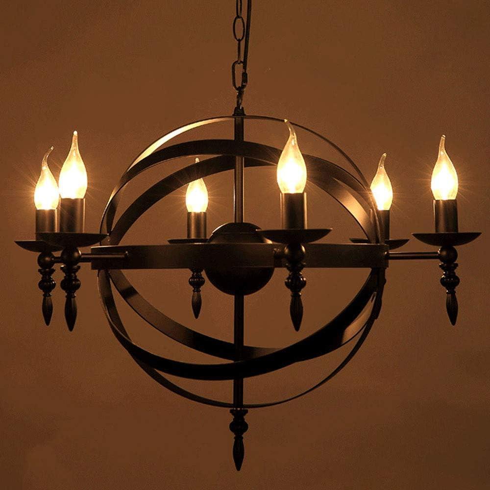 MQJ Chandelier de Estilo Castillo Europeo 55 X 50 cm Vela Colgante Medieval Luz Re de Hierro Labrado Colgante Lámparas de Techo de 6 Luces E14 Vela Luces Colgantes para la Cocina de la Isla de la Coc