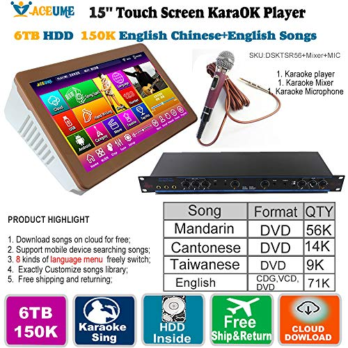 Fantastic Prices! 6TB HDD,150K Mandarin,Cantonese,Taiwanese,English Songs,15.''Touch Screen Karaoke ...