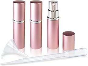 Refillable Perfume & Cologne Fine Mist Atomizers with Metallic Exterior & Glass Interior - 5ml Portable Travel Size - 3ml Squeeze Transfer Pipette Included (3 Pack, Pink)