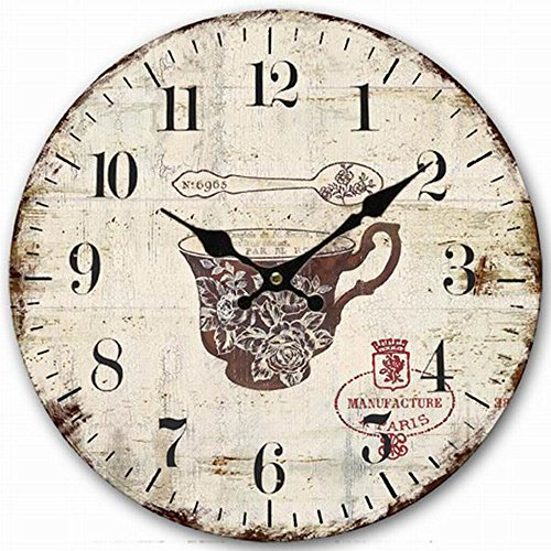 Cottage Kitchen Wall Clock, Eruner Attractive Bedroom 14-inch Silent Clock Nostalgia Old Style Timepiece Watch for Home Office Living Room Bathroom Hallway Wall Clock