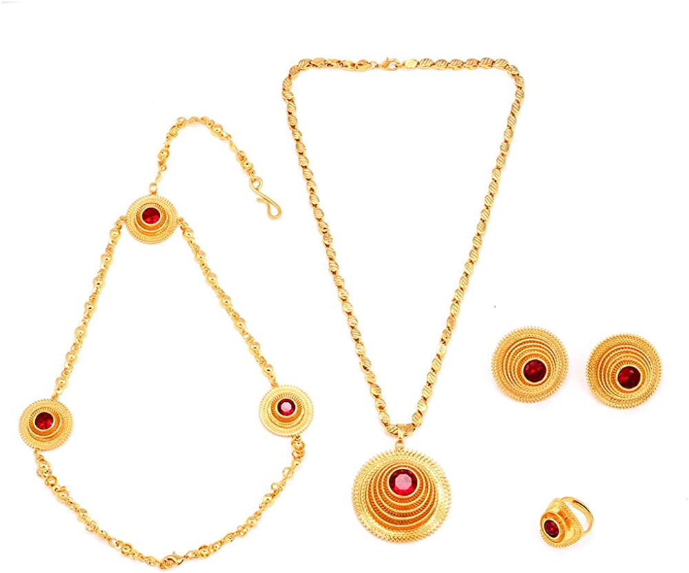 18K Gold Plated Traditional Ethiopian Jewelry Sets African Jewelry for Ethiopia Women Best Gift
