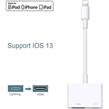 Lighting to HDMI,Lighting Digital AV Adapter,1080P HDMI Video AV Cable, HDMI Sync Screen Connector Conversion Compatible with iPhone 11/11 Pro/XS/XR/X/8 7,iPad and iPod, Support iOS 12/13-White