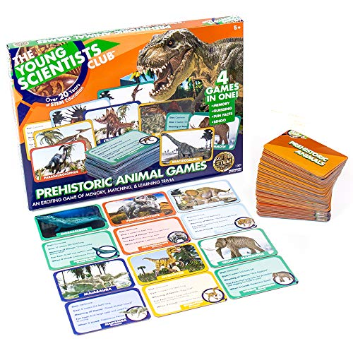 The Young Scientist Prehistoric Animal Card Games, 4 Dinosaur Card Games in 1, Matching, Bingo, Memory, Trivia, Hands-On Educational Fun, Homeschool Games