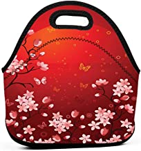 Travel Case Lunchbox with Zip Red,Ethereal Abstract Sunset Scenery with Blossoming Sakura Sprigs and Butterflies,Coral Orange Red,lunch box bag for women
