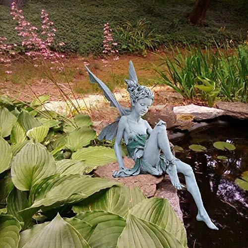 Blumenfee Gartenfiguren & Gartenstatuen,Kunstharz Outdoor Statuen Landschaftsbau Yard Kunst Ornament Sitzen Engel Gartenfiguren,Mädchen Kunststatue Ornamente für Hinterhof Terasse -Weiß 8x15x18cm(3x6x