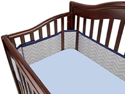 BreathableBaby Classic Breathable Mesh Crib Liner - White (Boy Chevron)