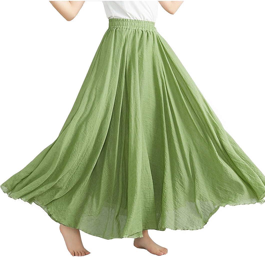 Duyang Women Summer Loose Elastic Waist Flowy Skirt Bohemian Style Cotton Linen Skirts