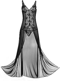 KKmeter Women's See-Through Lace Babydoll Dress Nightwear Split Long Gown with G-String