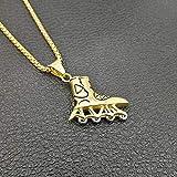 Hip Hop Gold Silver Color 316l Stainless Steel Roller Skates Shoes Pendentifs Collier pour hommes Bijoux Avec 24» Chaîne
