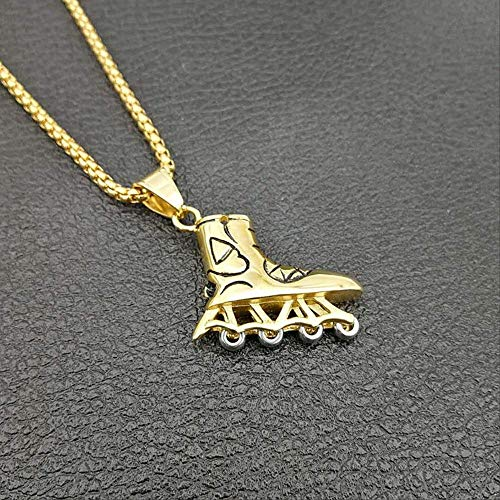 Naswi Hip Hop Gold Silber Farbe 316l Edelstahl Rollschuhe Schuhe Anhänger Halskette Für Männer Schmuck Mit 24 Kette