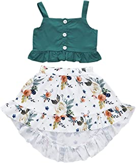 WINZIK Toddler Kid Baby Girl Summer Outfit Clothes Set Ruffle Off Shoulder Halter Straps Crop Tops Floral Skirt Shorts Pants