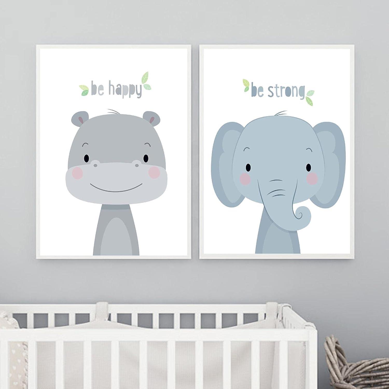 Cute Ranking TOP7 Baby Max 55% OFF Elephant Hippo Cartoon Canvas Posters Wall Animals Art