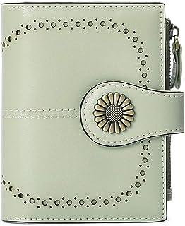 Portafoglio da donna in pelle morbida con 16 scomparti per carte di credito, portafoglio corto e blocco RFID