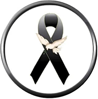 Melanoma Skin Cancer Black Awareness Ribbon with Dove Support Hope Believe 18MM - 20MM Snap Jewelry Charm